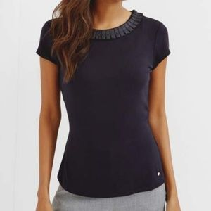 Ted Baker Frill Neck Tee Blue 1 Blue EUC xs/s